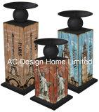 S/3 Lavanda Vintage Design de mobiliário em madeira MDF/adesivo de papel metálica trapézio suporte para velas