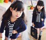 Marine-blaues Streifen-Mädchen-Revers-lang Sleeved Kleid
