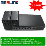 1X4 Over Cat6e Cable HDMI Extender (3D steun, 1080P)