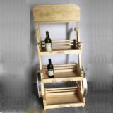 木のワインラックCart/3層の移動可能なワインラック