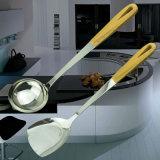 Insieme dell'utensile della cucina della scrematrice del cucchiaio del Turner dell'acciaio inossidabile delle 6 parti con la maniglia nera di TPR