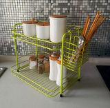 ラック2つの層の金属線の台所皿