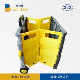 Желтый серый цвет Semi складывая магазинную тележкау