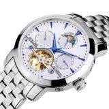 Reloj automático impermeable Relogio de la máquina del acero inoxidable de la plata de la fecha del reloj de los hombres de la luna del zafiro de lujo de la fase masculino