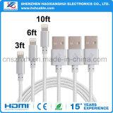 cable trenzado del USB del IOS del nilón de los 3.3FT para el iPhone 7