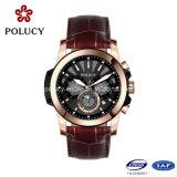 Horloge van de Chronograaf van de Mensen van het Plateren van het Gezicht van het Leer van de douane het Echte Grote
