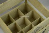 Embalaje de madera de la cerveza de la insignia de la botella de encargo del sólido 9 con la maneta