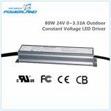 80W 24V 0~3.33A impermeable al aire libre de tensión constante que el controlador LED