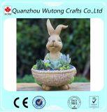 Crisol de flor de encargo de la resina del conejo del ornamento del jardín