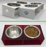 Шары кошачьей еды собаки нержавеющей стали с Non-Slip акриловой стойкой