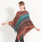 Mesdames tricoté Poncho, Cheap pull-over châle couleurs Rainbow