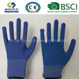 Gants de polyester de sûreté de travail de points de PVC