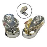 La capacidad verdadera del cristal de diamante de metal Zapatillas USB Flash Drive USB 2.0