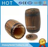 Изготовленный на заказ логос науглероживал деревянным бочонок кофейного зерна сгорели бочонком, котор
