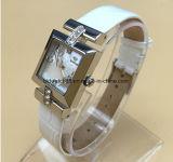 Relojes elegantes banda de cuero de acero inoxidable de las señoras con Crystal