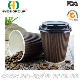 taza caliente del papel de empapelar de la ondulación del café 12oz con la tapa