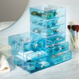 Cajones de acrílico del maquillaje del azul 3 translúcidos