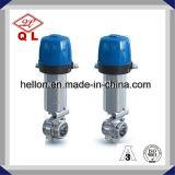 S304 압축 공기를 넣은 액추에이터 두 배 작동을%s 가진 위생 나비 벨브