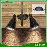 Outdoor Wireless 400 lúmenes LED RGB 8LED Solar Spotlight, Doble Cabezal flexible resistente al agua Jardín de luz de montaje en pared