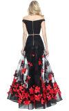 熱い販売のアップリケをつけられた花のスカートが付いているそして肩のキャミソールを離れた二つの部分から成った人魚のイブニング・ドレス
