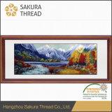 Пышные реки и картина стены вышивки гор