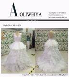 Ballkleid-Chiffon- Spitze-Tulle-Hochzeits-Kleid mit v-Stutzen