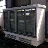 O supermercado obstrui dentro o congelador de vidro vertical da porta