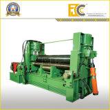 Máquina de dobra hidráulica de Rolls dos rolos da placa de aço três