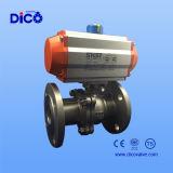Válvula de esfera da flutuação do aço inoxidável 2PC com atuador pneumático