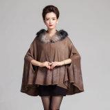 Poncho tricoté acrylique de châle de Madame Fashion Fur Collar Hooded (YKY4463)