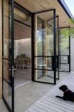 Дверь ковки чугуна внешняя стальная французская Bi-Fold с стеклом