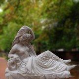 Statue de marbre Hand-Carved femelle avec l'eau Pot T-5762