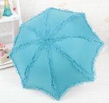 Paraguas plegable del borde del cordón del Portable 5 de encargo promocionales de la tela de la pongis mini