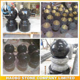 Pilar de granito preto e liso polido sólido e bola redonda