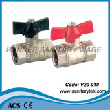 Válvula de bola de latón forjado con mango de la mariposa (V20-011B04)