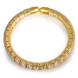 Pulsera magnética del oro del pun¢o del brazalete cristalino elegante de las mujeres