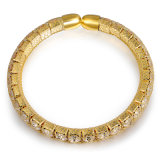 Oro Cristal elegante Brazalete Brazalete Pulsera magnética de la mujer