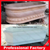 Mano Carved White Marble Bathtub per Bathroom