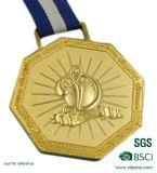 Médaillon fait sur commande en métal d'or d'usine avec la lanière