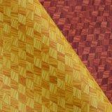 Cuero Textured de la esponja del PVC del grano de madera del diamante para el bolso