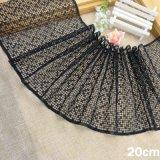 Fresado de bordado al por mayor de 20cm de hilo negro de la frontera Accesorios de ropa de tela de encaje