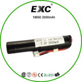 2s1p Li Ion Rechargeable Battery Pack 18650 7.4V 2000mAh