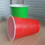 Bereifte rote Partei-Wegwerfplastikcup der Oberflächen-16oz pp.