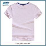 Le T-shirt 100% de coton de plaine avec le logo fait sur commande a estampé