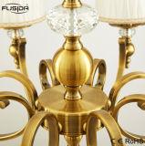 5 lampade bronzano l'illuminazione rotonda del lampadario a bracci di Lampshape del tessuto con il cristallo