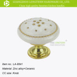 Clásica Perilla de muebles de cerámica impresa flor