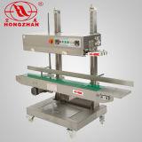 Saco de contínuo de aço inoxidável verticais máquina de vedação para peixes de carne e doces com rodas de Vedação