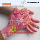 K-106 13ゲージポリエステルナイロン綿のニトリルの上塗を施してある安全働く手袋