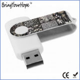 USB branco do giro da cor com logotipo de Customed (XH-USB-001)