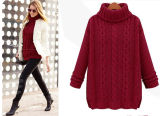 Moda Loose High Neck Cable Style Knit Lady Sweater